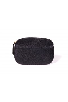 Card and money holder in black leather