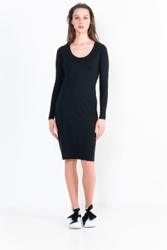 L12 Bis Long sleeve short dress with scoop front