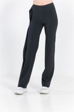 L79 Straight pants with side flounce