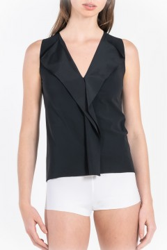 L82 Top American Armholes Ruffle Front